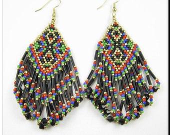 Native American Style Beadwork Fringe Seed Bead Earrings Diamond Shaped Loop Earrings in Red, Blue, Green, Black and Gold