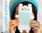 crochet phone case pattern, amigurumi bear, crochet phone sleeve, crochet phone cozy, kawaii, plushie phone case, bear phone case