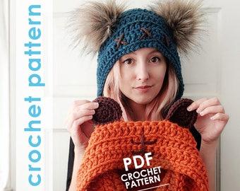 star wars crochet pattern, ewok inspired crochet hat, bear ears hat, fur pompoms, crochet hat pattern, star wars costume, star wars cosplay