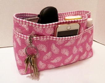 Quilted Purse Organizer Insert With Enclosed Bottom Large - Pink and White Paisley
