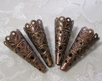 Antique Copper Cone Torch Bead Caps 27mm Nickel Free 340