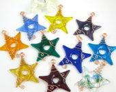 Reserved - Custom Order for Sharon - Glass Star Suncatchers - Ten Fused Glass Stars Ornaments