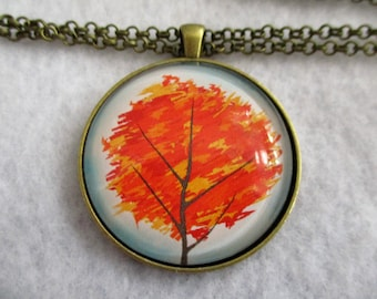 Bold AUTUMN Fall Leaves TREE Cabochon PENDANT Necklace