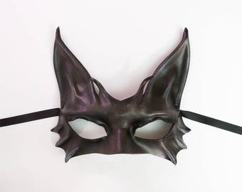 Dark Grey and Black Cat Leather Mask costume masquerade elegant sexy great for both average or smaller size faces Burning Man