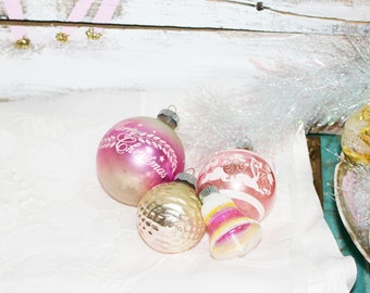 4 Vintage Pink Merry Christmas Ornaments shiny brite glass
