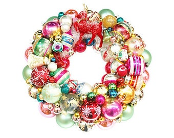 Ornament Wreath, vintage ornament wreath, Reindeer Wreath, Vintage Reindeer, Ornament Wreaths