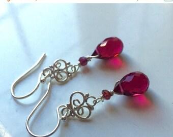 XMAS IN JULY 20% off, Red Teardrop Mini Chandelier Earrings, Christmas Gift, Christmas Earrings, style: Ruby Slippers,  Single Stone Chandel