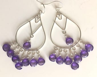 Ultra Violet 2018 Color of The Year Goddess Earrings, Ultraviolet, Gemstone Jewelry, lever back option earrings