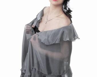 Promo Sale: SHAWL KAMELIA. Silver-Grey Silk Chiffon Wrap with Ruffles