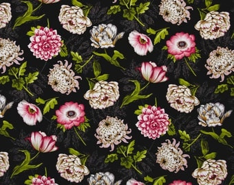 New ~  Tossed Flowers Black Color ~ Tivoli Garden by Anne Rowan for Wilmington Prints, Quilt Cotton, Easter, Spring Fabric