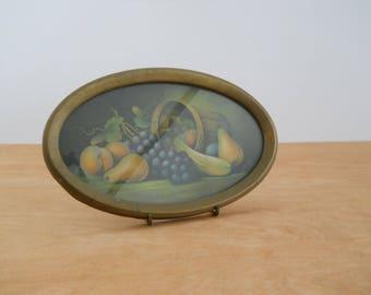 Vintage Framed Fruit Print Picture • Antique Gold Metal Frame • Grapes Pears Banana Basket
