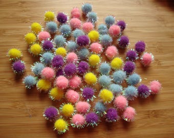 """Mini pom poms for spring Easter embellishments bunny tails assorted colors pom poms 7/16"""" wide kids crafts party favors craft supplies"""