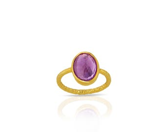 Amethyst ring made with sterling silver and 18K gold, Amethyst stacking ring - Purple ring - Amethyst gold ring - pink amethyst ring