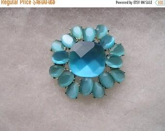 ON SALE Pretty Aqua BLue Faceted Glass Monet Silver Tone Pin Brooch