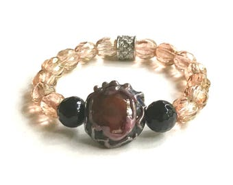 Gold and Black Onyx Rhinestone Pave Lampwork Boho Beaded Bracelet for her under 100, One of a Kind, US Free Shipping