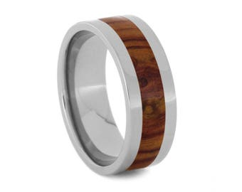 Wooden Wedding Band, Titanium Ring With Tulip Wood Inlay, Men or Women's Ring