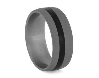 Sandblasted Titanium Wedding Band With Black Ebony Wood Pinstripe, Wooden Wedding Band, Masculine Ring