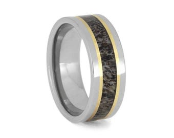Naturally Shed Deer Antler Wedding Band, Titanium Ring With 14k Yellow Gold Pinstripes, Men's Hunting Jewelry