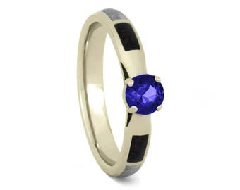 Blue Sapphire Engagement Ring, White Gold Ring With Meteorite And Dinosaur Bone, Unique Wedding Ring