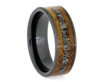 Deer Antler Wedding Band With Whiskey Barrel Oak, Black Ceramic Ring