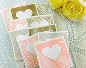 Mini Heart Cards Peach & Gold Collection Set of 9
