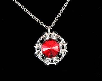 Siam Red Swarovski Crystal Pendant Necklace
