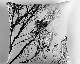 Leaves Silhouette in Monochrome Cushion