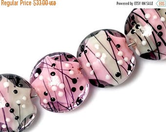 ON SALE 35% OFF 10109812 - Four Princess Party Lentil Beads - Glass Lampwork Beads Set