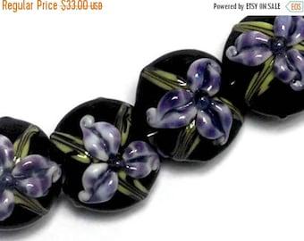 ON SALE 30% off NEW! 10205712 Four Purple Iris Lentil Beads - Handmade Glass Lampwork Bead Set