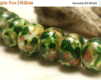 ON SALE 30% off Seven Jamaica Forest Rondelle Beads - 10505501 Handmade Glass Lampwork Bead Set