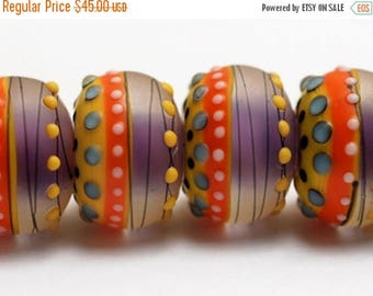 ON SALE 30% off NEW! 11008821 Six Barcelona Matte Rondelle Beads - Handmade Glass Lampwork Beads