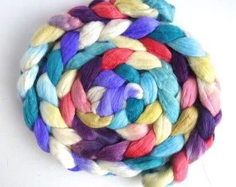 Bright and Cold, Merino/ Silk Roving - Handpainted Spinning or Felting Fiber