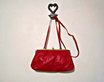 Red Clutch, Red Shoulder Bag, Red Leather Bag, Italian Leather Bag, Clutch and Coin Purse