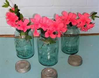 2 Vintage Ball Jars Vintage Canning Jars With Zinc Lids Antique Vintage Ball Perfect Mason Jars Quart Size