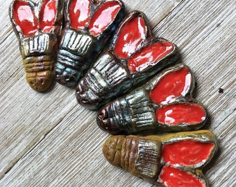 211. Wondrousstrange Raku Anglo Saxon Copper Red Bee Raku Pendant Cosplay LIsting Five Pendants/Beads