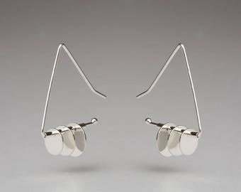Triangle Earrings with 3 Tiered Disks