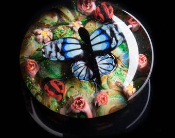 Artisan Blue Butterfly Lampworked Flamework Glass Paperweight