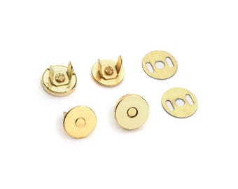 20 Sets Magnetic Purse Snaps - Closures 10mm Gold - Free Shipping (MAGNET SNAP MAG-102)