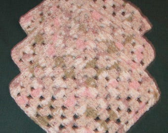 """Three Dish or Wash Cloths, Pink, brown  and white, 7"""" square, crochet"""