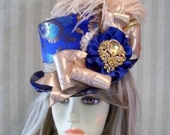 Kentucky Derby Top Hat, Victorian Top Hat, Steampunk top Hat, Blue Brocade Top Hat, Wedding Top Hat