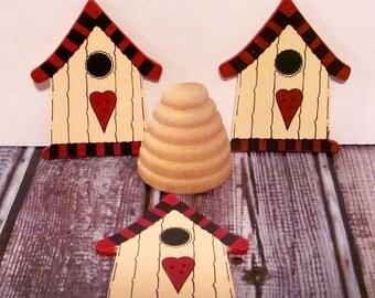 Wood Birdhouses and Split Bee Hive
