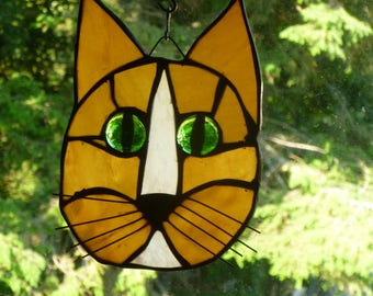Cat Face Stained Glass Beautiful Browns and whites Gorgeous green eyes