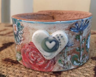 Love and flowers- Hand Painted Leather Cuff