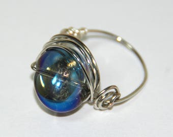 Silver wire wrapped ring