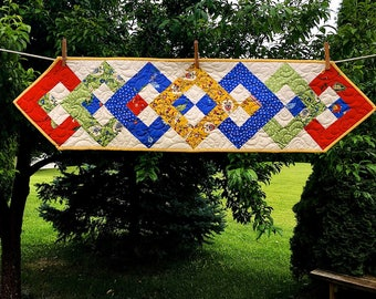 Provence Table Runner in Red, Blue, Yellow, Green