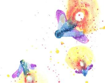 Firefly ORIGINAL Watercolor 9X12, Galaxy Spirit Animal