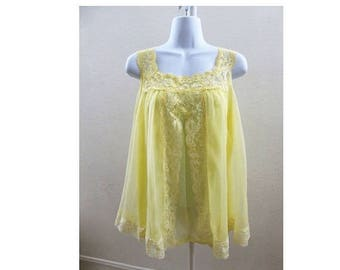 50s Vintage Nightie Size S Yellow Chiffon Lace Nylon Nightgown Negligee Mini 60s