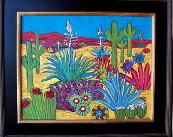 "Original Desert Landscape Painting 16"" x 20"" on wood, framed to 22.25"" x 26.25""  Vivid Color / Linda Kelly/New Mexico/Arizona/cactus"