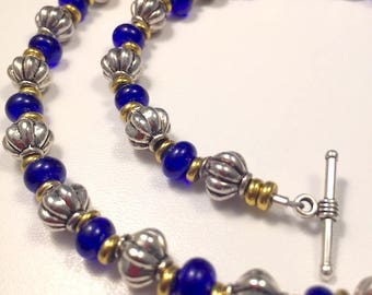 Cobalt Blue and Silver Beaded Necklace