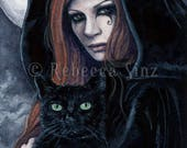 Witching Hour 5 x 7 Print Witch Cat Full Moon Black Night Halloween Gothic Red Hair Familiar Fantasy Art Watercolor
